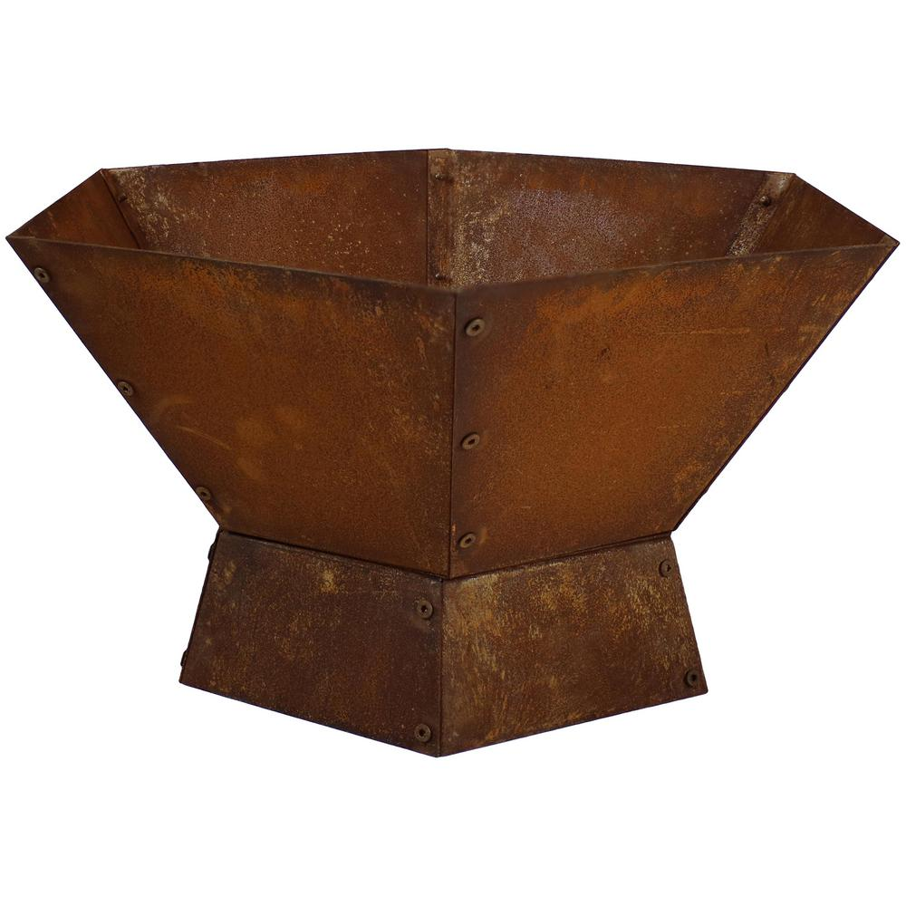 Sunnydaze Decor 23.75 in. Hexagonal Steel Wood Burning Fire Pit Bowl in Rustic
