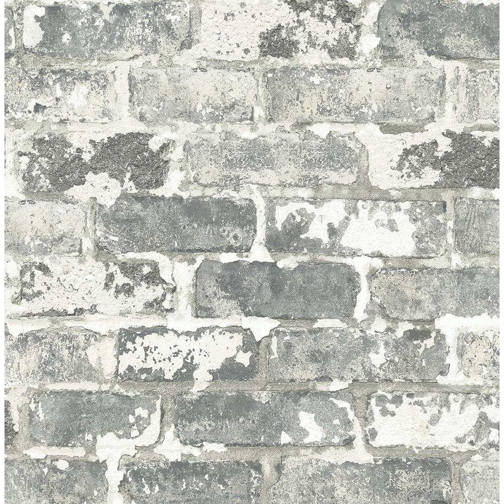 Grey Weathered Brick Peel and Stick Wallpaper 30.75 sq. ft.