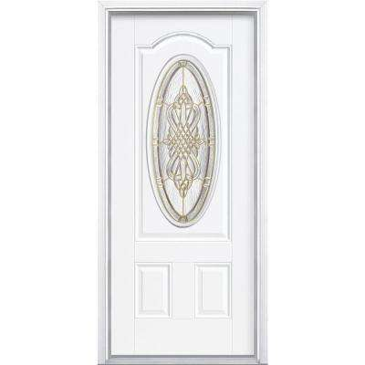 36 in. x 80 in. New Haven 3/4 Oval Right-Hand Inswing Primed White Smooth Fiberglass Prehung Front Door w/ Brickmold