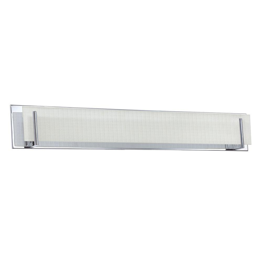 Designers Choice Collection Aurora Series 7-Light Chrome Vanity Light with Linen Glass