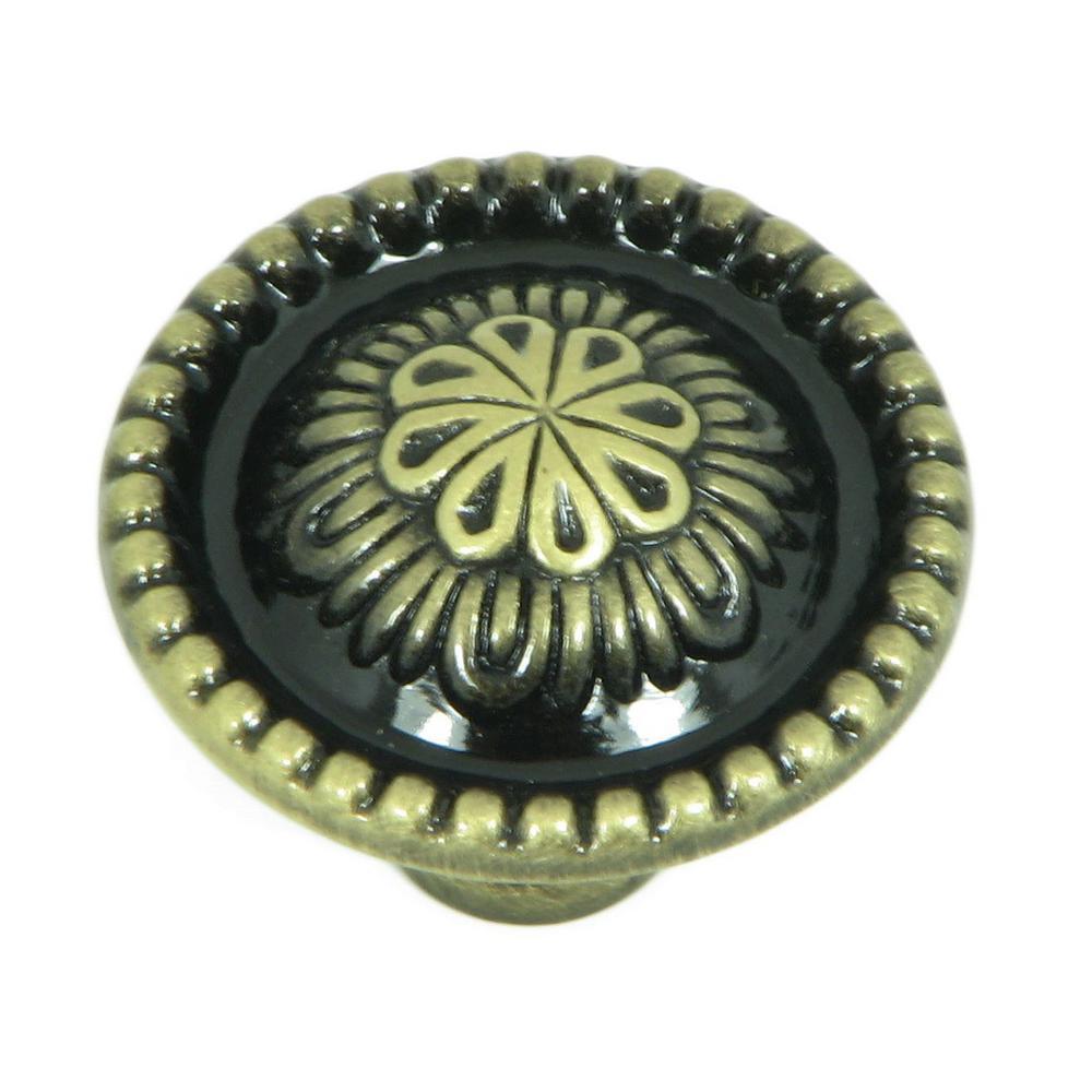 Acapulco 1-1/4 in. Antique Brass Round Cabinet Knob (25-Pack)