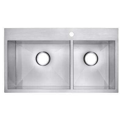 Handmade Drop-in Stainless Steel 32 in. x 18 in. x 9 in. 1-Hole 60/40 Double Bowl Kitchen Sink in Brushed Finish