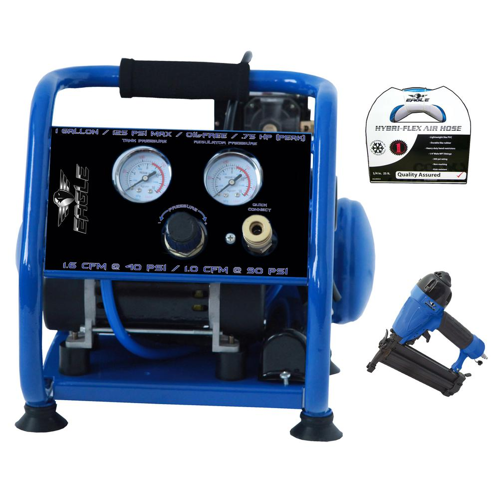 Eagle Silent Series, Portable, Oil Free 1 Gal. Electric 115-Volt Air Compressor Combo Kit