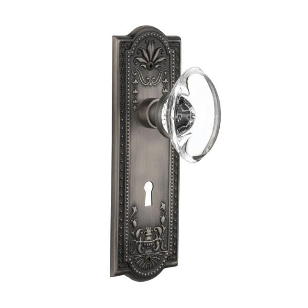 Nostalgic Warehouse Meadows Plate With Keyhole 2 3 4 In Backset Antique Pewter Privacy Bed Bath Oval Clear Crystal Glass Door Knob 718416 The Home Depot