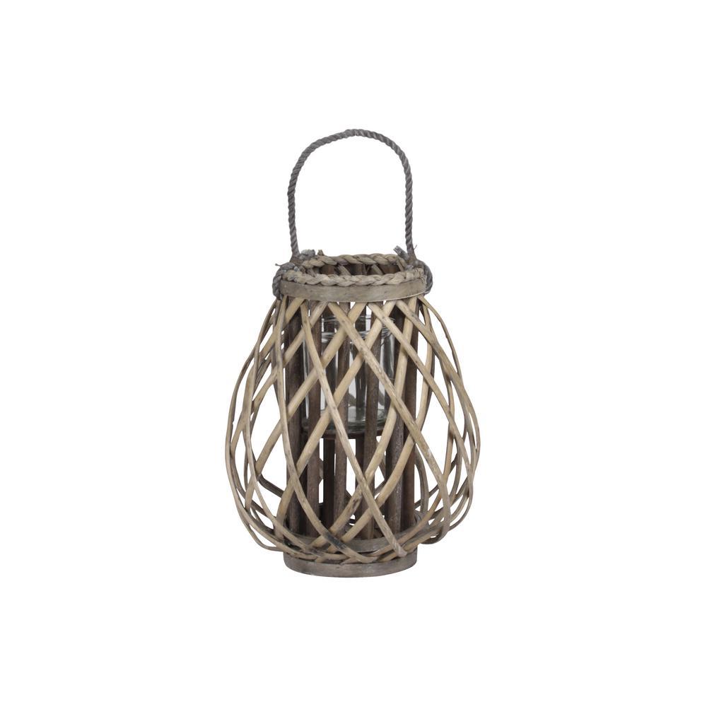 Weathered Dark Elm Candle Lantern