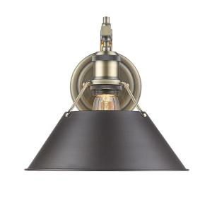 Orwell AB 1-Light Aged Brass Sconce with Rubbed Bronze Shade