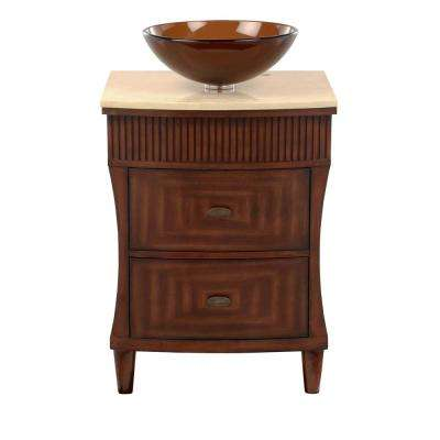 Fuji 24 in. W x 21 in. D Bath Vanity in Old Walnut with Marble Vanity Top in Cream and Brown Glass Sink
