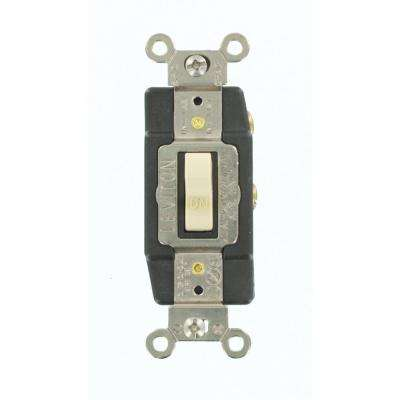 20 Amp Industrial Grade Heavy Duty Single-Pole Double-Throw Center-Off Maintained Contact Toggle Switch, Ivory