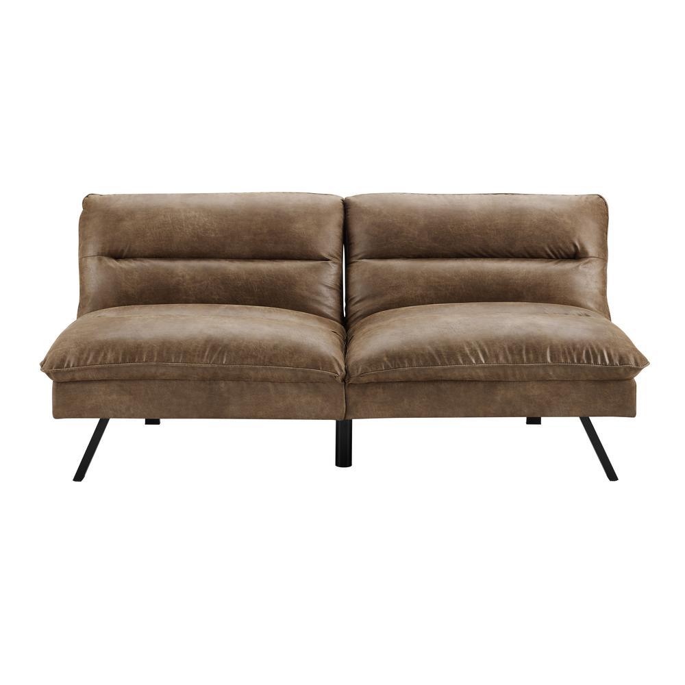 Simmons Manhattan Brown Bomer Convertible Sofa