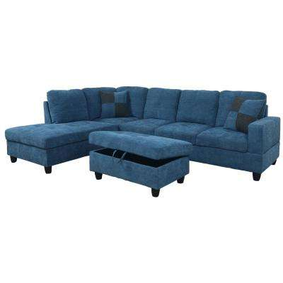 Blue Microfiber Right Chaise Sectional With Storage Ottoman