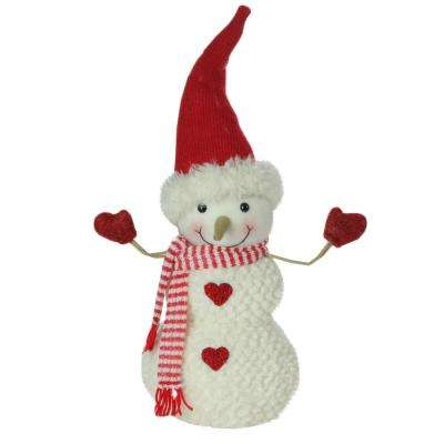 15 in. Plush Red and White Super Soft Snowman with Red Heart Buttons Christmas Decoration