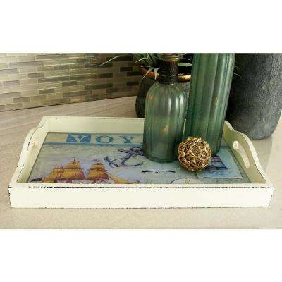 Coastal Living Cream-Finished Decorative Nautical Trays (Set of 3)