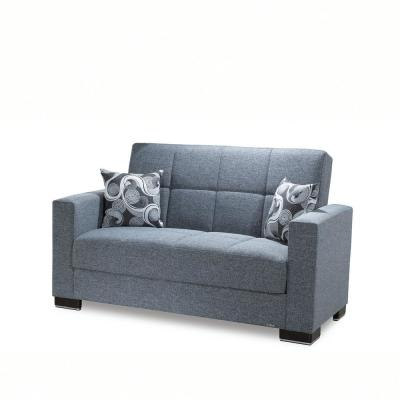 Armada 64 in. Gray Chenille 2-Seater Convertible Loveseat with Storage