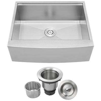 Bryce Zero Radius Farmhouse Apron Front 16-Gauge Stainless Steel 27 in. Single Basin Kitchen Sink with Basket Strainer