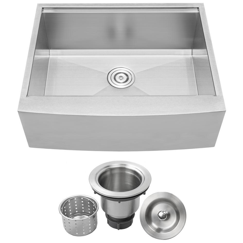 Bryce Zero Radius Farmhouse Apron Front 16-Gauge Stainless Steel 27 in. Single Basin Kitchen Sink with Basket Strainer