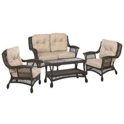 Cappuccino Collection 4-Piece Wicker Patio Conversation Set with Light Brown Cushions
