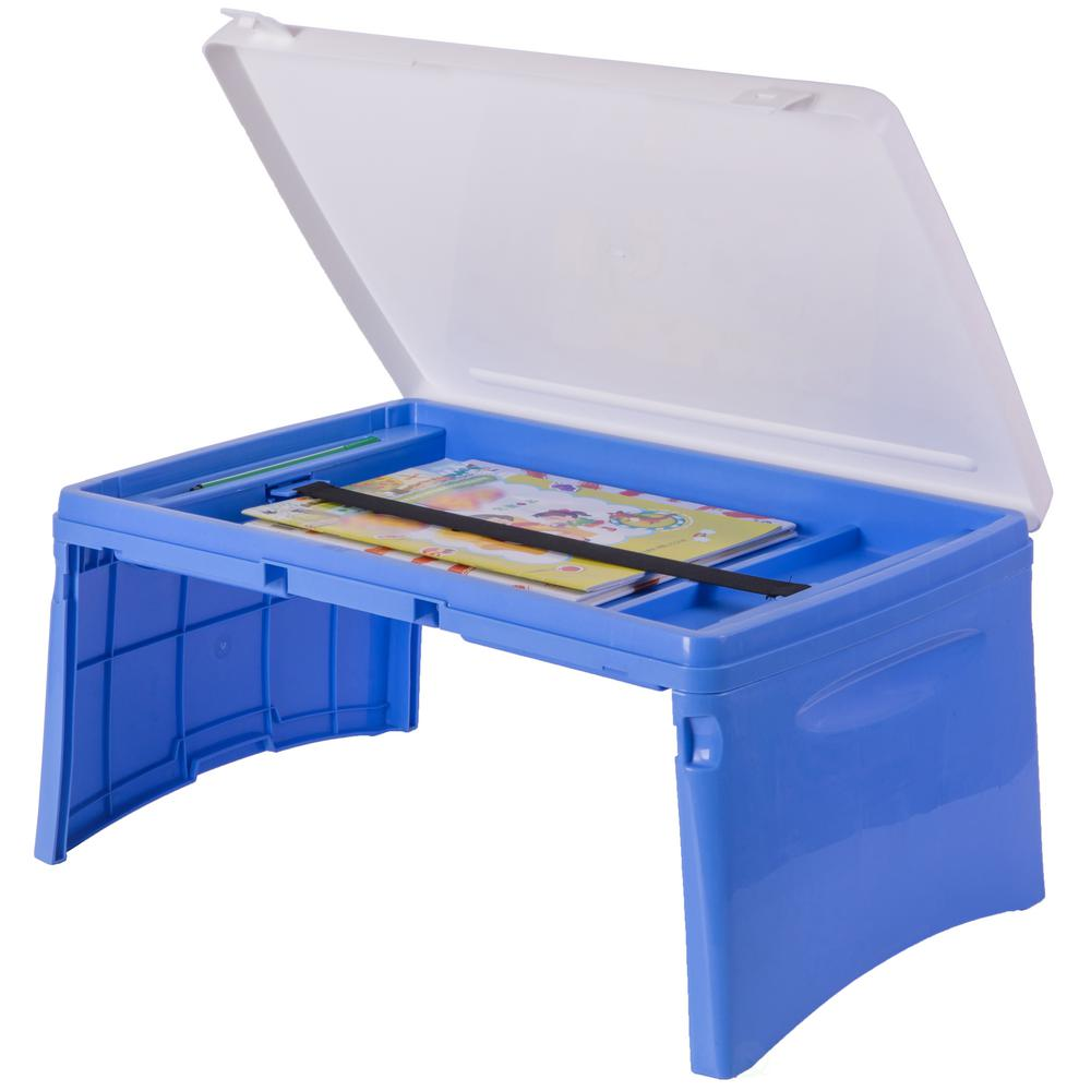 Blue and White Kids Portable Fold-able Plastic Lap Tray