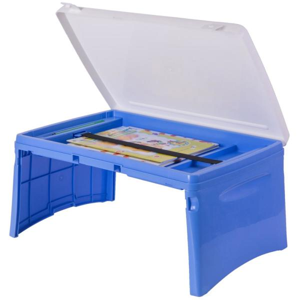 Basicwise Blue and White Kids Portable Fold-able Plastic Lap Tray QI003430.B