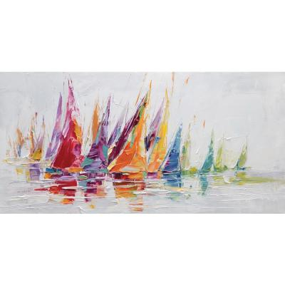 """27.6 in x 55.2 in """"Rainbow Afloat"""" Hand Painted Canvas Wall Art"""