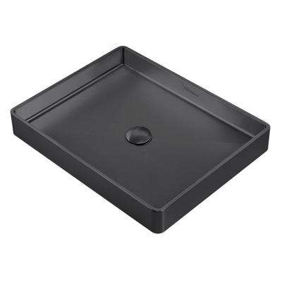 Noah Plus Rectangular Matte Textured Above Mount Vessel Sink in Matte Black with Matching Center Drain