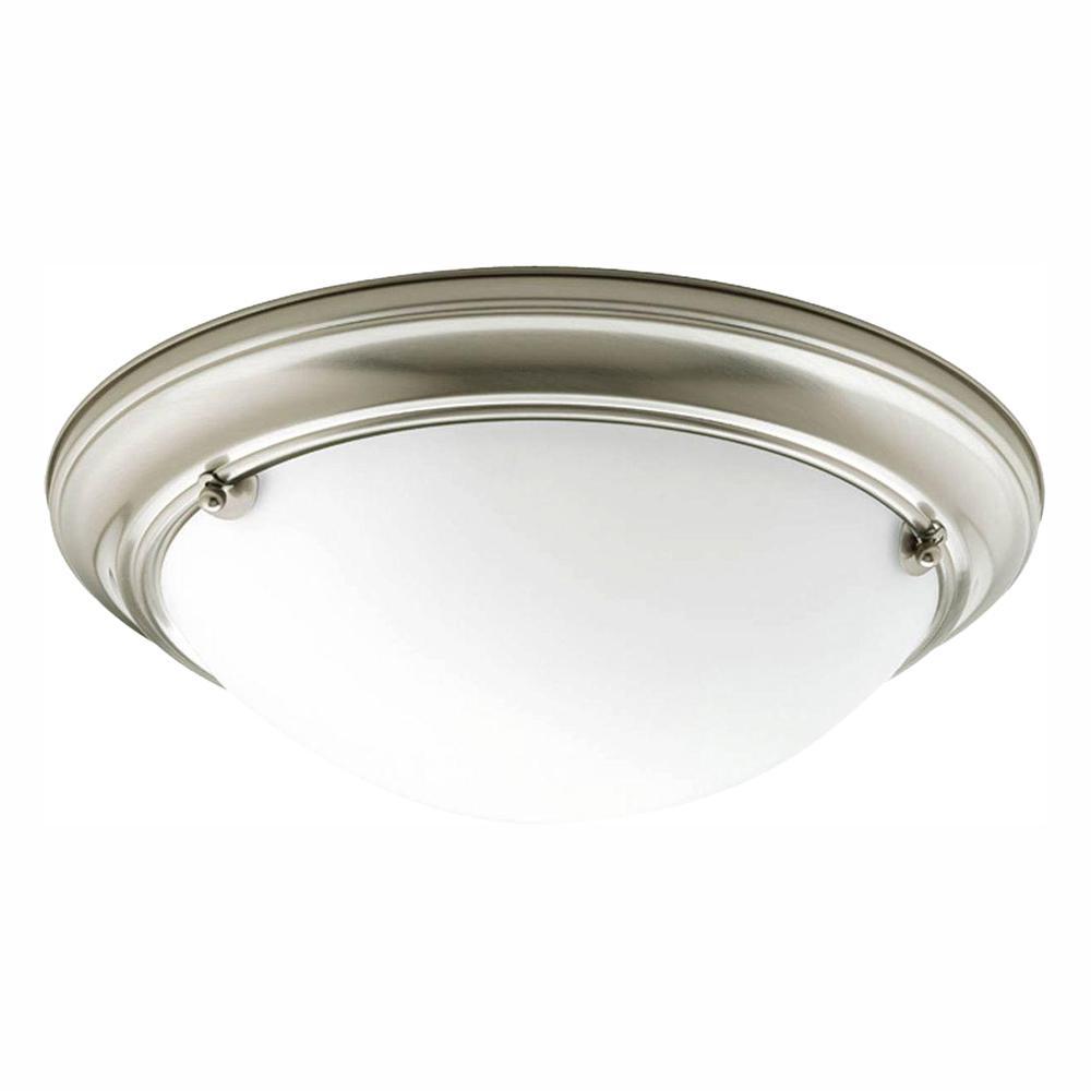 Progress Lighting Eclipse 2-Light Brushed Nickel Flush Mount with Satin White Glass