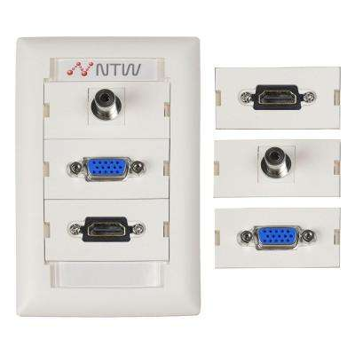 Customizable Unimedia Wall Plate and ID Tag - HDMI, VGA AND 3.5MM AUDIO PASS THROUGH