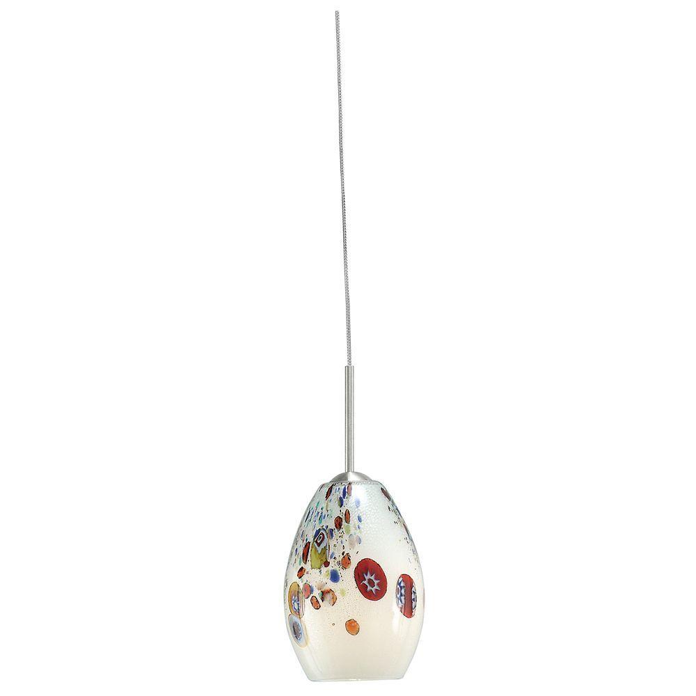 Mini-Monty 1-Light White Satin Nickel Hanging Mini Pendant