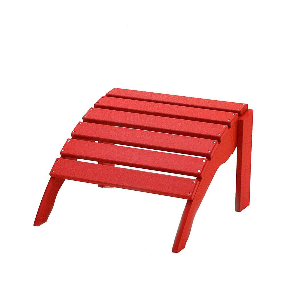 Icon Bright Red Plastic Outdoor Ottoman