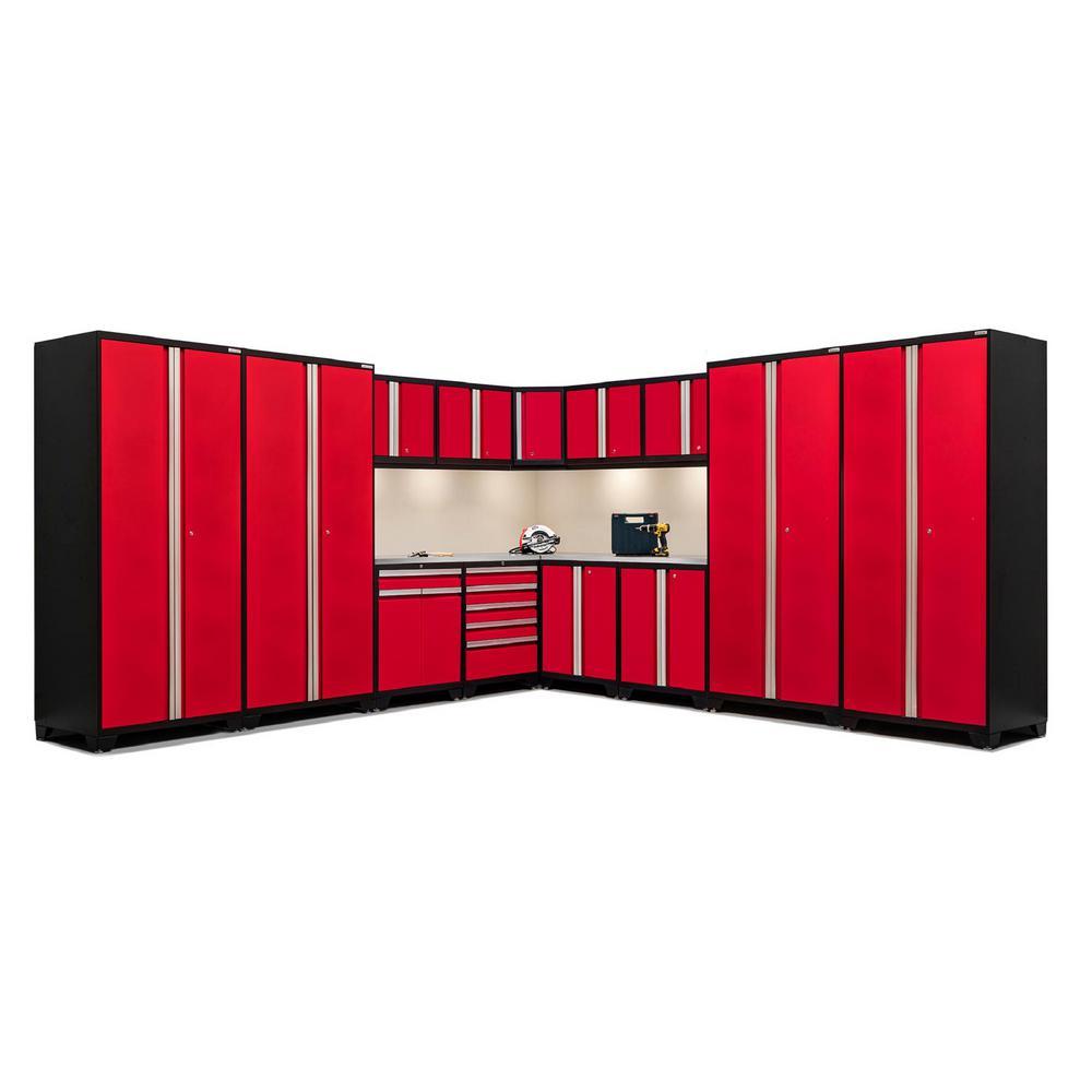 Pro 3.0 83.25 in. H x 280 in. W x 24 in. D 18-Gauge Welded Steel Stainless Steel Worktop Cabinet Set in Red (16-Piece)