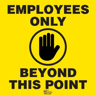 16 in. Employees Only Floor Sign