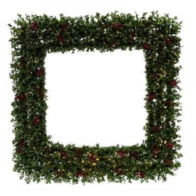 48 in. Prelit Wreath Arrangement with Pinecones, Berries and Warm White LED Lights