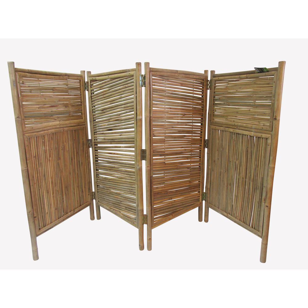 96 in. W x 48 in. H per panel 4-Panel Bamboo Screen