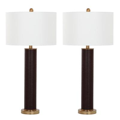 Ollie 31.5 in. Brown Faux Snakeskin Table Lamp with Off-White Shade (Set of 2)