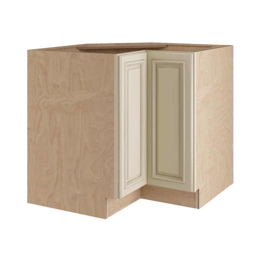 Home Decorators Collection Holden Assembled 33x34.5x24 in. Easy Reach Super Susan Hinge Left Base Kitchen Corner Cabinet in Bronze Glaze