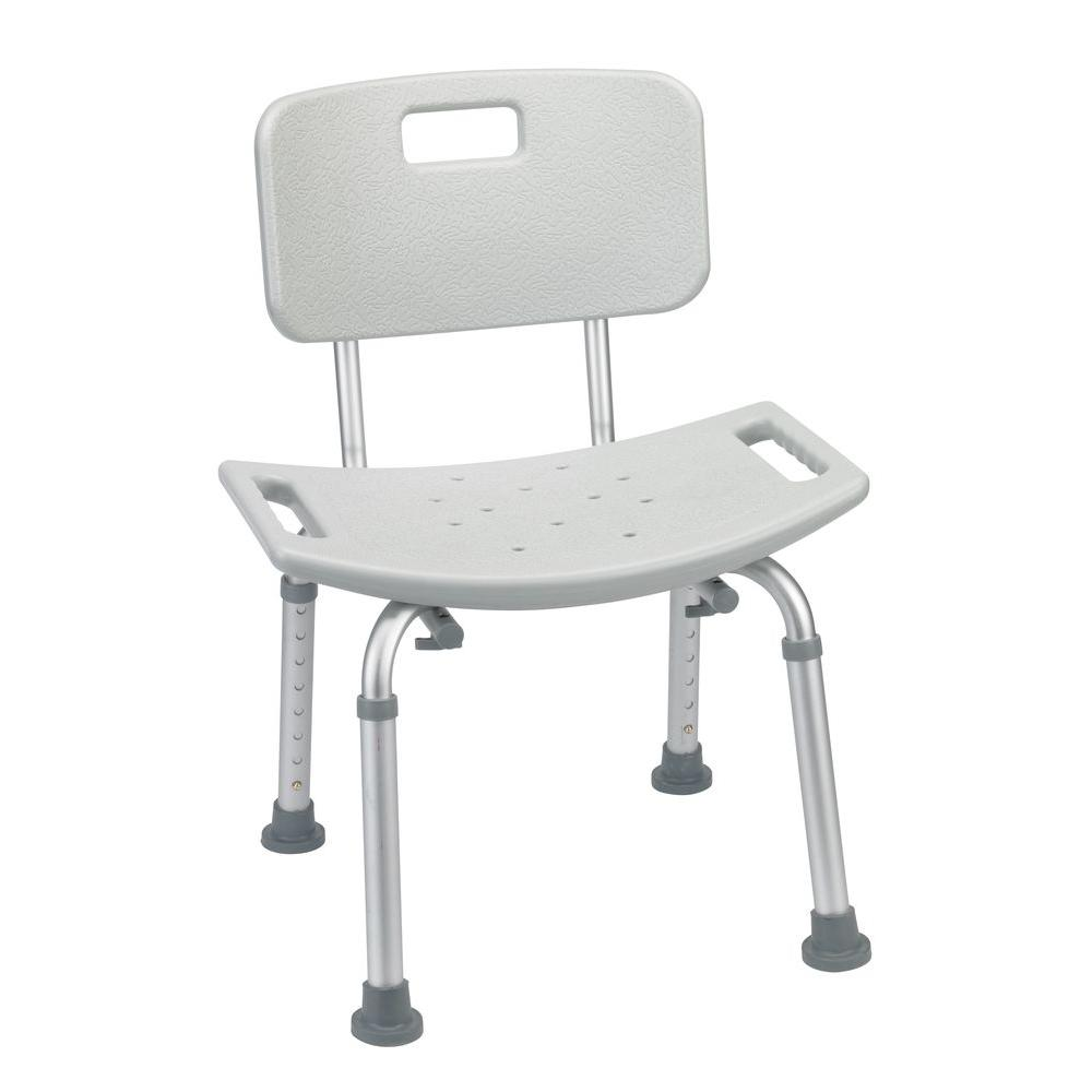 Drive Grey Bathroom Safety Shower Tub Bench Chair with Back