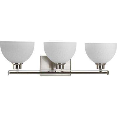 Legend Collection 3-Light Brushed Nickel Bathroom Vanity Light with Glass Shades