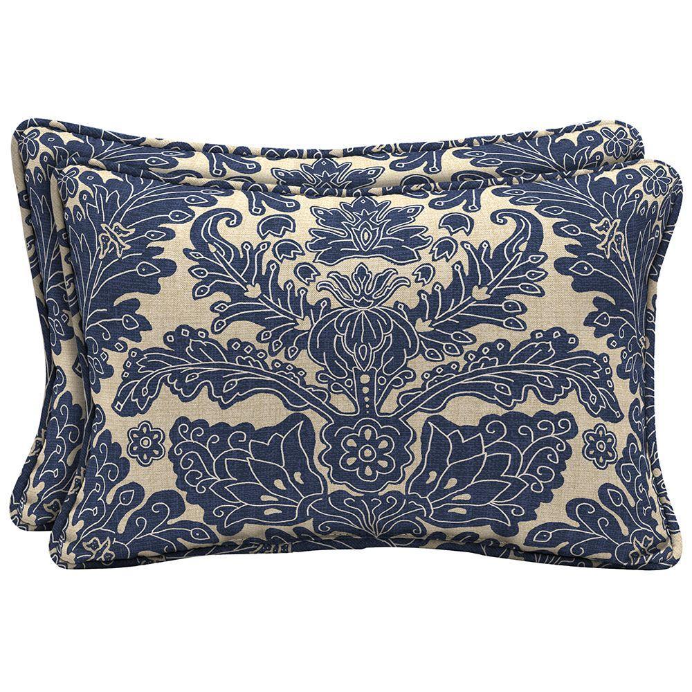 Chelsea Damask Lumbar Outdoor Pillow 2 Pack