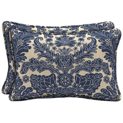 Chelsea Damask Lumbar Outdoor Pillow (2-Pack)