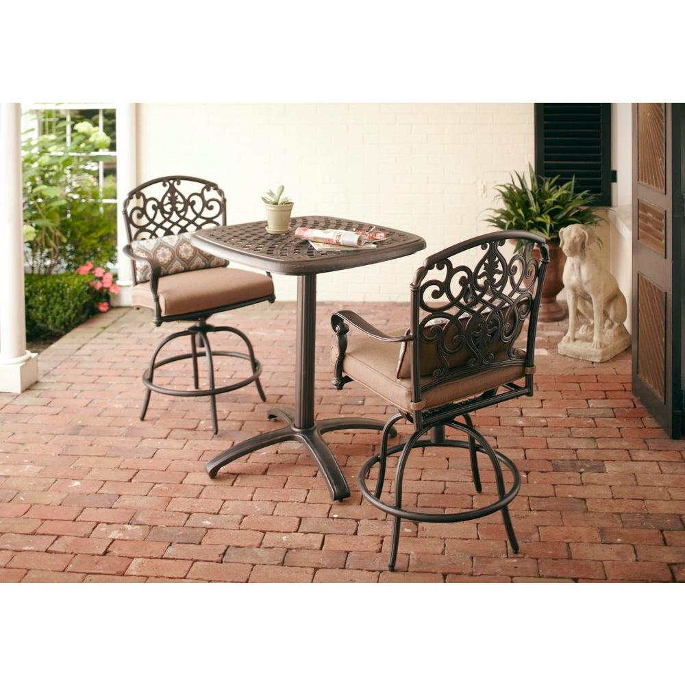 Hampton Bay Edington 2013 3-Piece Patio Balcony Set with Textured Umber Cushions-DISCONTINUED