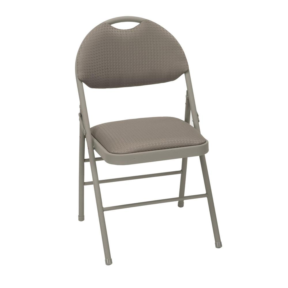 Cosco Taupe Metal Frame Padded Seat Folding Chair Set Of