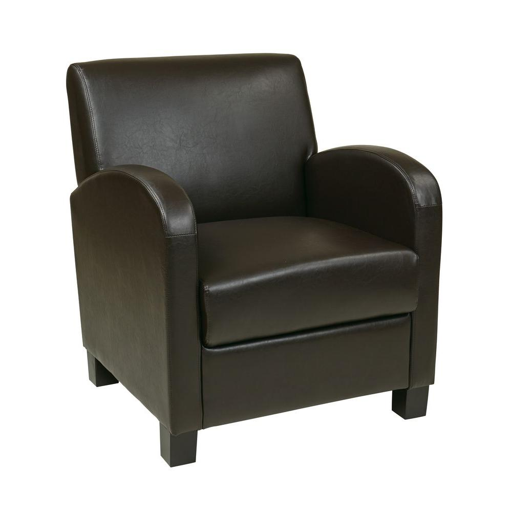 OSPdesigns Espresso Eco Leather Club Arm Chair-MET807RES