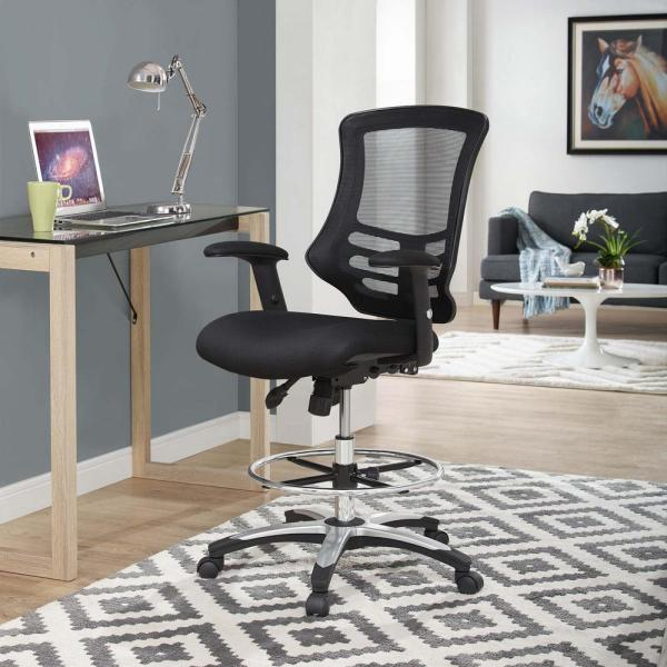 MODWAY Calibrate Mesh Drafting Chair in Black EEI-3043-BLK