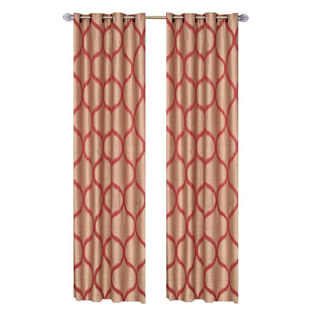 Lavish Home Rust Metallic Grommet Curtain Panel, 84 In