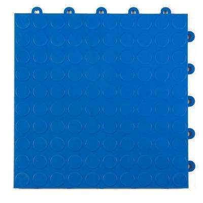 Coin Top 1 ft. x 1 ft. x 5/8 in. Blue Polypropylene Interlocking Garage Floor Tile (Case of 24)