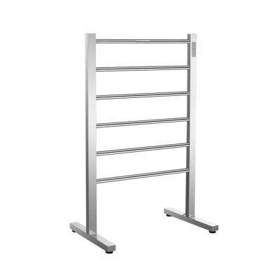 Kiln Series 6-Bar Stainless Steel Floor Mounted Electric Towel Warmer Rack in Brushed Nickel