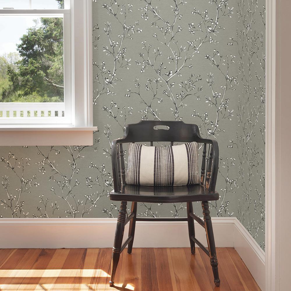 Tadley Dark Grey Branch Wallpaper