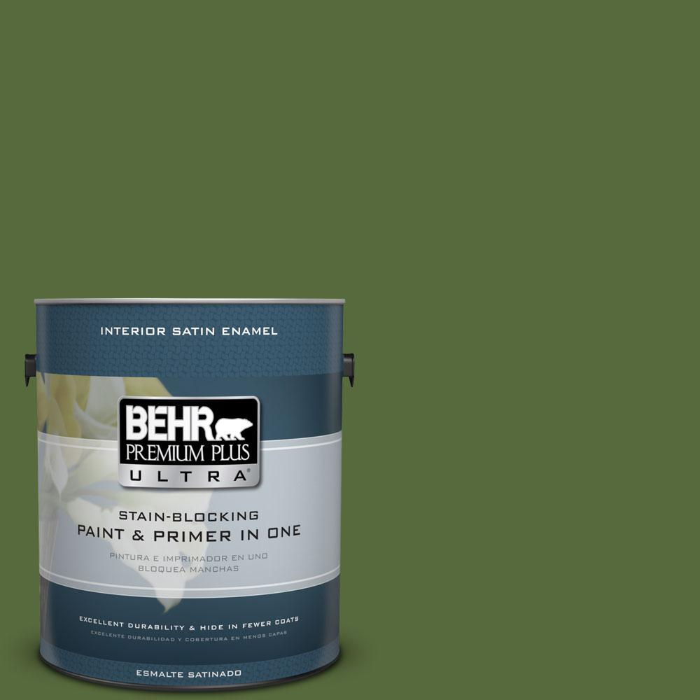 BEHR Premium Plus Ultra 1-gal. #410D-7 Mountain Forest Satin Enamel Interior Paint