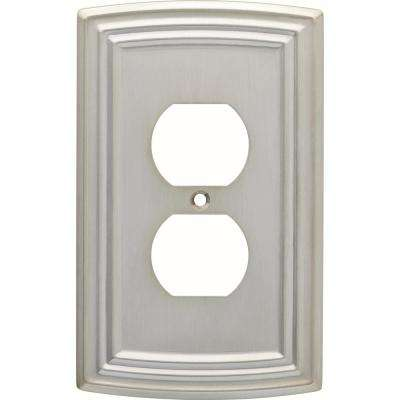 Emery Decorative Single Duplex Outlet Cover, Satin Nickel