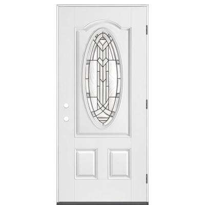 36 in. x 80 in. Chatham 3/4 Oval Left Hand Outswing Primed White Smooth Fiberglass Prehung Front Exterior Door