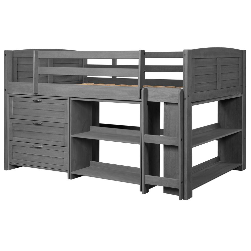 Antique Grey Twin Louver Low Loft Bed with 3-Drawer Chest and 2-Bookshelves